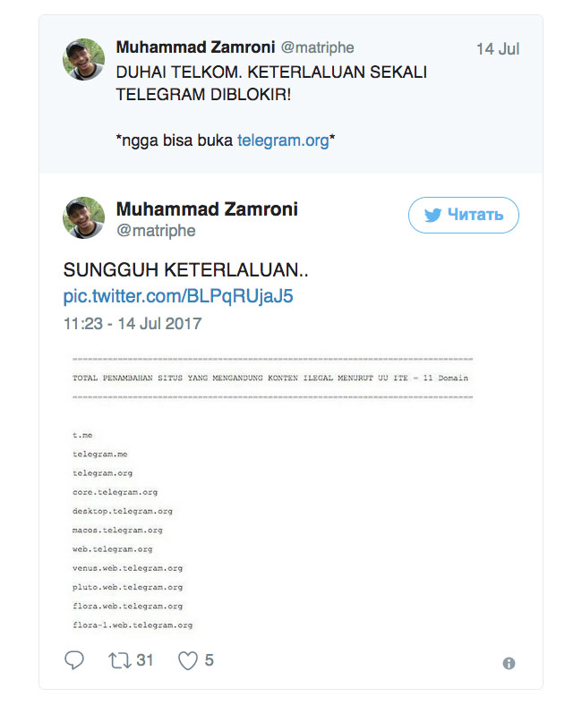 Индонезия первой заблокировала Telegram. Кто следующий?