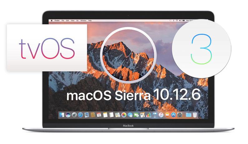 macOS 10.12.6, tvOS 10.2.2 и watchOS 3.2.3 стали доступны для загрузки
