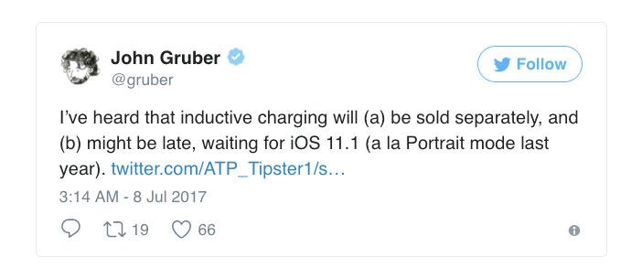 Беспроводная зарядка в iPhone 8 не будет работать на момент релиза, придется дождаться iOS 11.1 (как с портретным режимом)