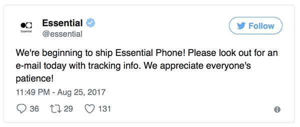 Essential Phone начали доставлять первым покупателям