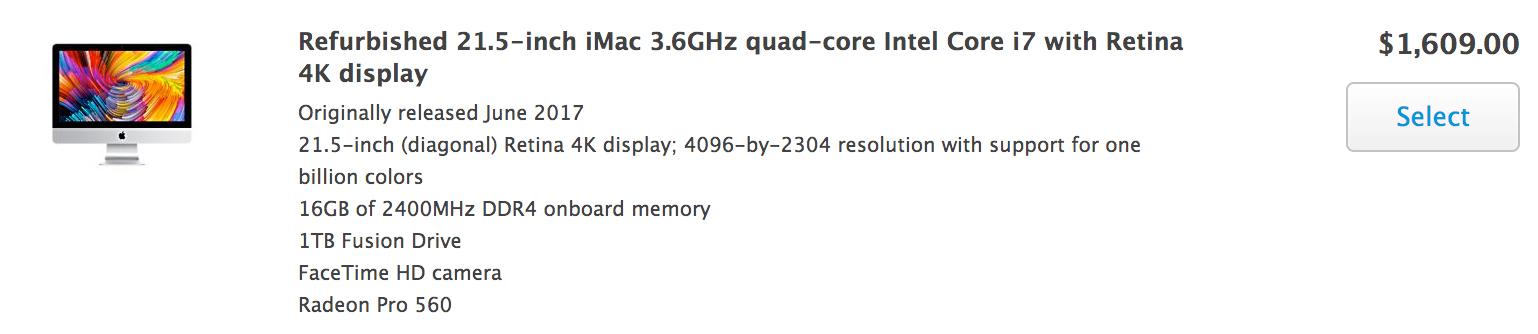 Apple открыла продажи восстановленных 21,5-дюймовых iMac 2017
