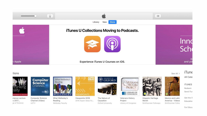 Apple перенесет медиатеку iTunes U в Подкасты