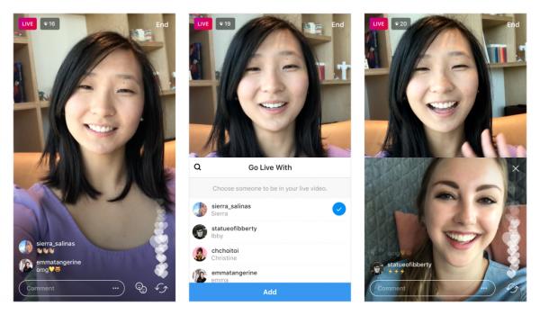 В Instagram появятся совместные трансляции