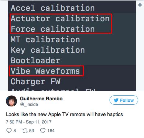 В новом пульте от Apple TV появится Haptic Feedback