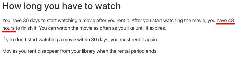 На просмотр арендованного в iTunes фильма теперь есть 48 часов