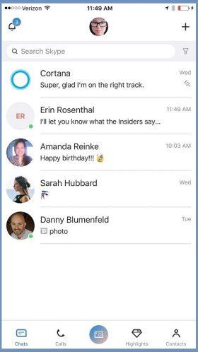 Microsoft работает над новым дизайном Skype на iOS