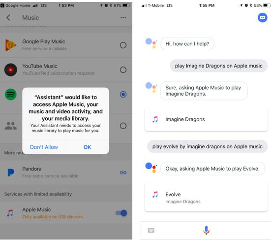Google Assistant теперь поддерживает Apple Music