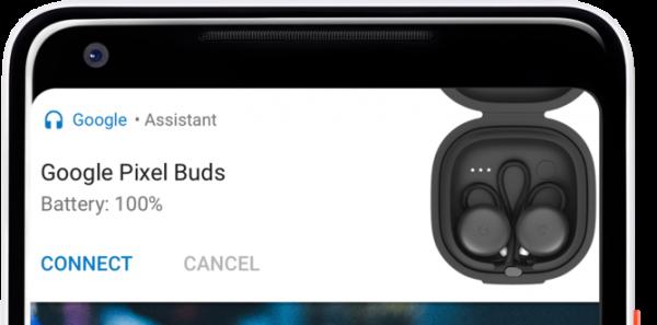 Pixel 2 отображает заряд подключенных беспроводных устройств