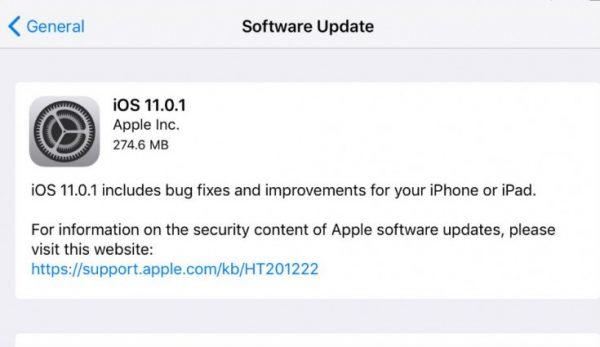 Пользователи столкнулись с серьезными проблемами после обновления до iOS 11.0.1