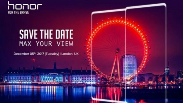 Huawei представит новый безрамочный смартфон Honor в Лондоне 5 декабря