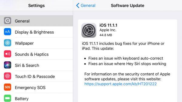 Apple выпустила iOS 11.1.1