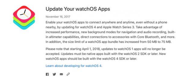 На Apple Watch больше не будет старых приложений