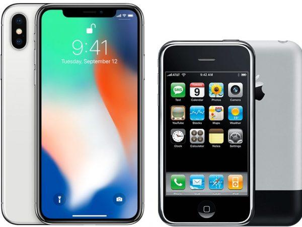 Сравнение iPhone X и iPhone 2G
