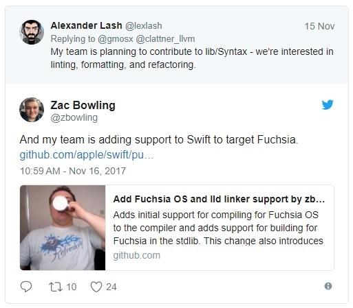 Язык программирования Apple Swift будет использоваться в операционной системе Google Fuchsia