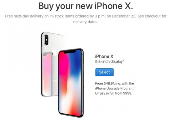Успеть до Нового года: сроки доставки iPhone X сократились