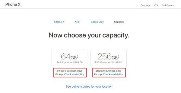 iPhone X доставят за 5 дней