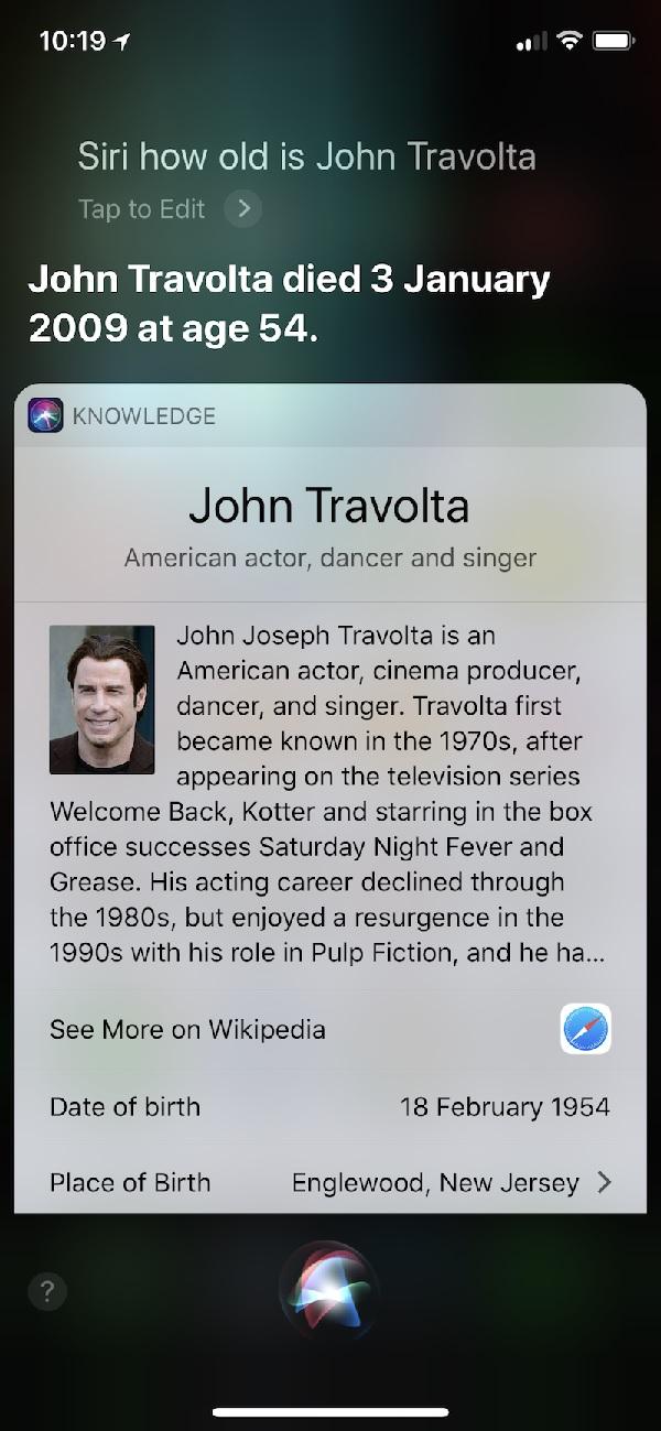 Siri считает, что Джона Траволты уже нет в живых