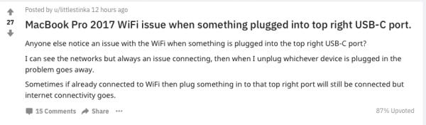У MacBook Pro 2017 не работает Wi-Fi из-за USB-C