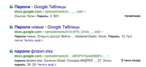 Чужие документы из Google Docs временно можно было найти в Яндексе