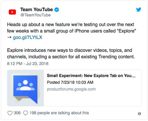 YouTube тестирует новую вкладку «Обзор» в собственном iOS-приложении