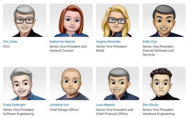 Apple заменила фотографии ключевых сотрудников на Memoji