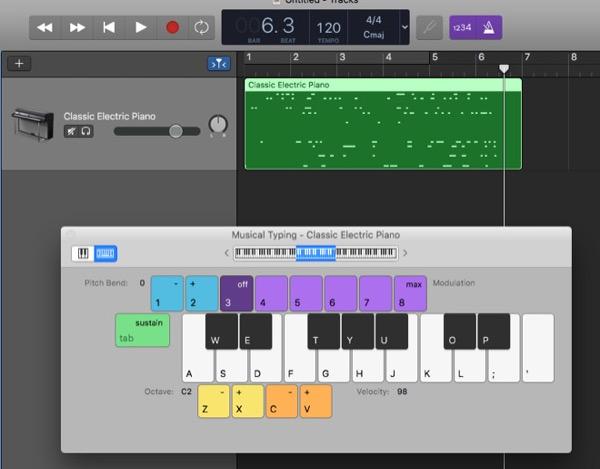 Как превратить клавиатуру Mac в нотную и играть на ней в GarageBand