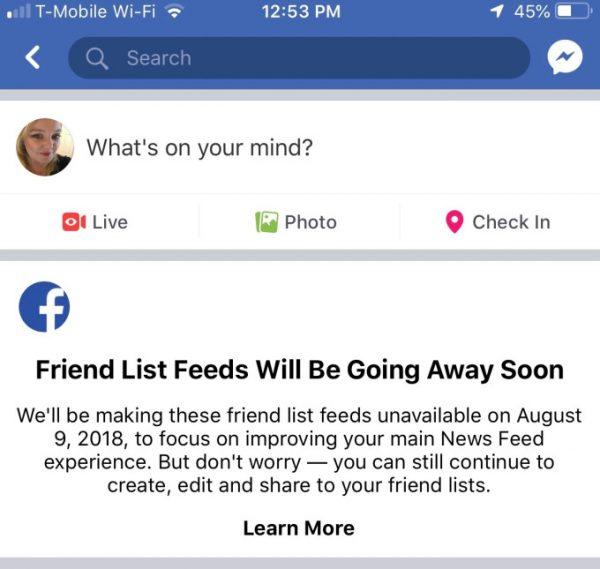 Facebook откажется от ленты друзей